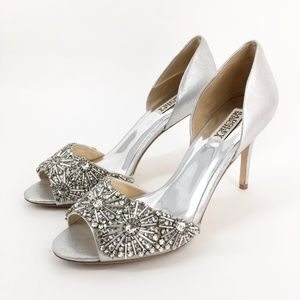 BADGLEY MISCHKA Silver Peep-toe Pump Size 10